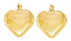Brinco Rommanel Folheado Ouro Coração Lado Opcional 523376