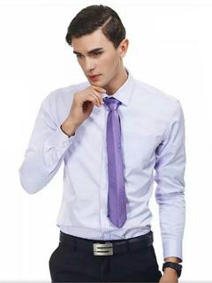Camisa Social Masculina Slim Fit Manga Longa Branca E Lilas