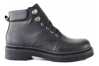 Borcego Mujer Briganti Cuero Botineta Zapato Negro Mcbo24849