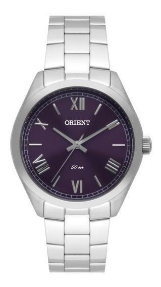 Relógio Orient Feminino Aço Fundo Roxo 34866