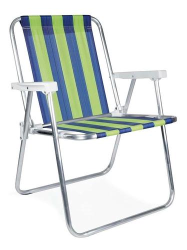 Cadeira Alumínio Alta Camping Listrada Praia Piscina - Mor