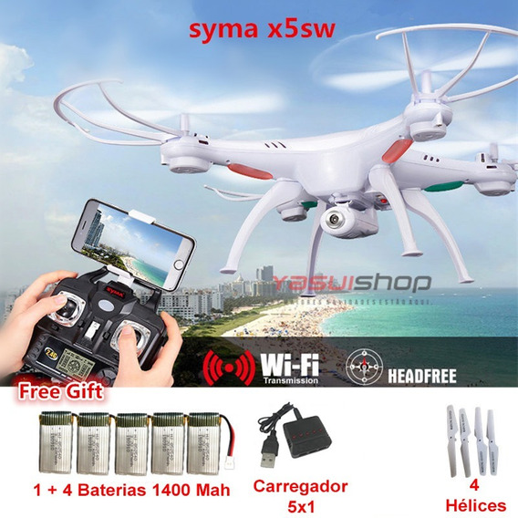 Drone Syma X5sw Com Camera 4 Bateria Extra Necessita Celular