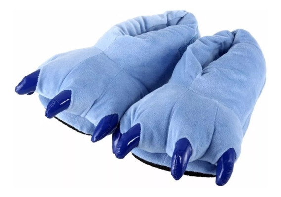 Pantufa Stitch Garras Azul Adulto Confortável Pronta Entrega