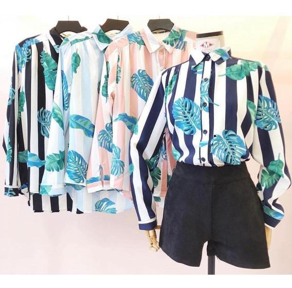 Camisa Blusa Feminin Mang Longa Listrada Estampada Importado