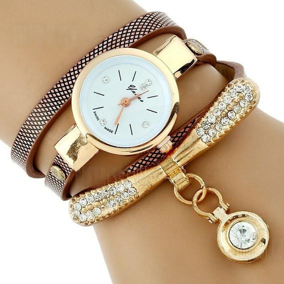 Relógio Feminino De Bracelete E Strass Lindo-/frete Gratis
