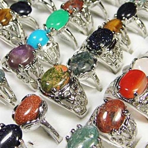 Kit 06 Anéis Pedras Naturais Revenda