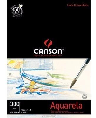 Papel Para Aquarela Canson Mix Media A4 300g/m² 12 Folhas