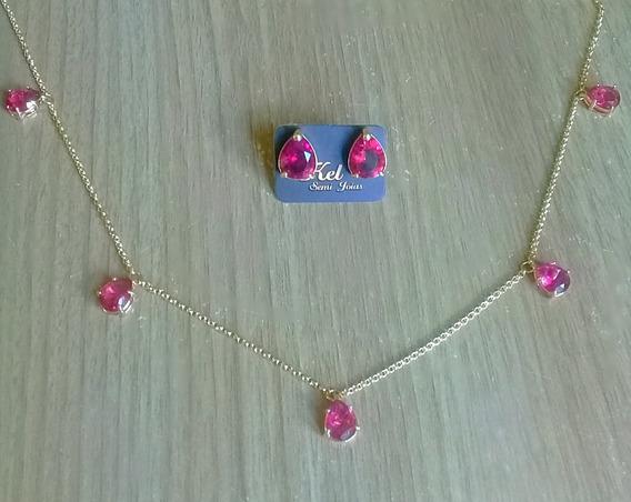 Conjunto Colar E Brincos Gota Rosa Pink Banhado A Ouro 18k
