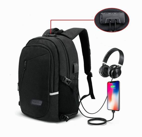 Mochila Antirrobo Impermeable Multifunción 30l Con Puerto Usb Y Auriculares, Bloqueo Con Contraseña, Laptop Backpack