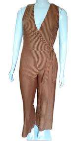 Macacão Feminino Plus Size Longo Listrado Pantalona 44 Ao 48