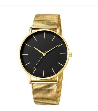 Relógio Feminino Masc Pulseira Malha Clássico Ouro E Preto