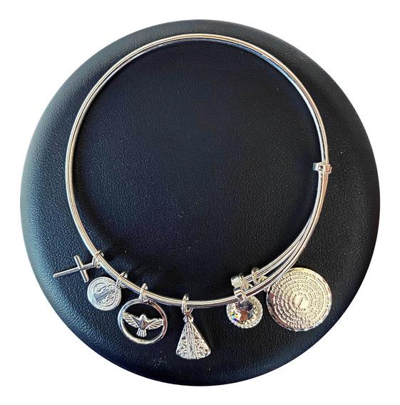 Bracelete De Prata Já Com Pingentes Prata 925 Cruz 925