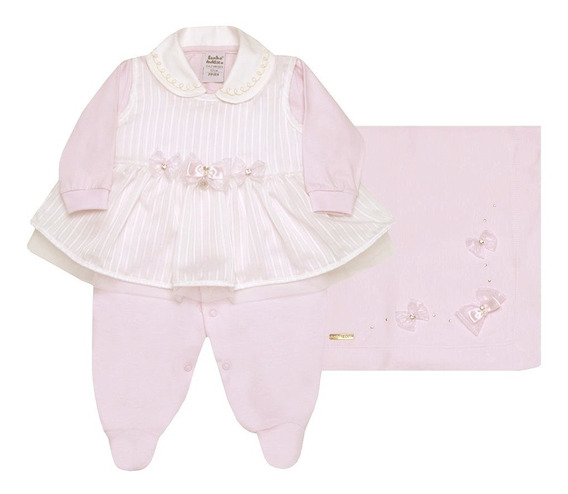 Kit Saída De Maternidade Malha Princess Rosa Sonho Mágico