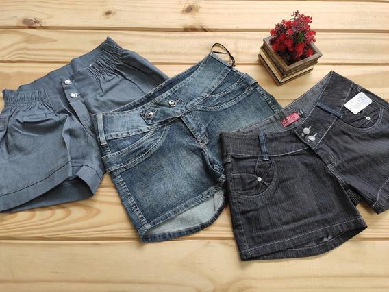 6 Shorts Jeans Femininos Bermuda Ciclista Liquida Estoque