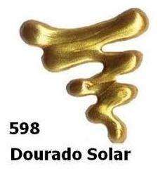 5x Tinta Aerografo Esmalte Vitral Metalicas Dourado Solar