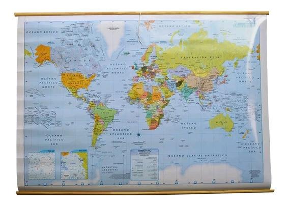 Mapa Laminado Entelado Planisferio Fisico Politico 90x130cm