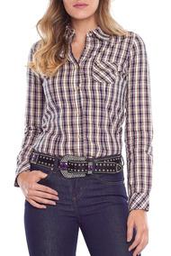 Camisa Feminina Tassa M/l Clássica Country Xadrez Casual