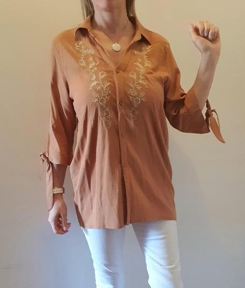 Camisa Bordada De Lino Elastizado Con Lazo En Mangas 3/4
