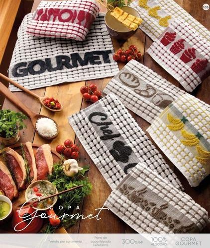 Imagem 1 de 5 de Pano De Prato Atoalhado Atacado Teka Gourmet Kit Com 5 Peças
