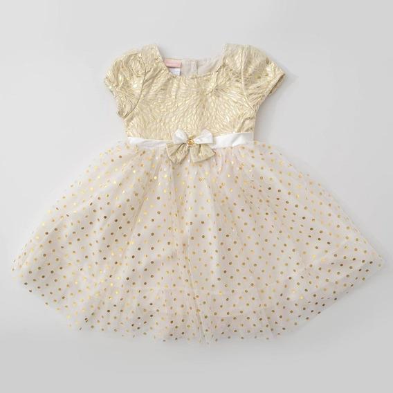 Vestido Festa Nannette Baby Champanhe E Dourado