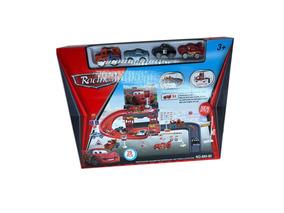 Pista Garagem Cars Disney Relampago Mcqueen 29 Pçs 4 Carros