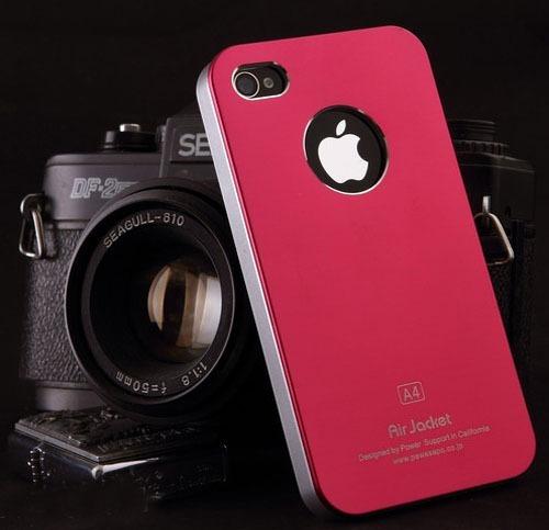 Elegante Carcasa Color Rojo Y Plateado iPhone 4