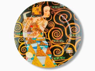 Plato En Cristal Redondo 40cm La Espera Klimt