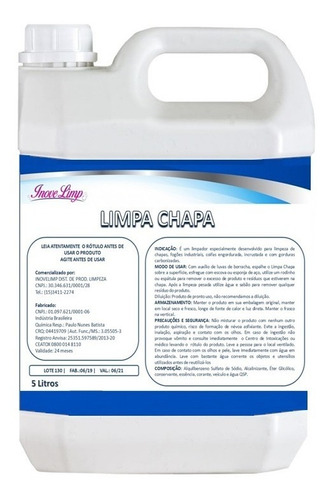 5 Litros Grill Detergente Desincrustante Limpa Chapa