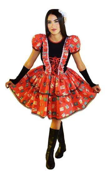 Vestido Caipira De Festa Junina Adulto Com Luva E Fitas