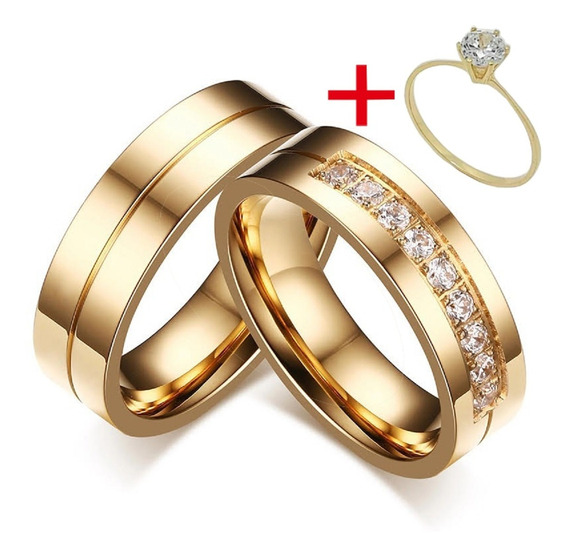 Alianças Banhada Ouro 18k Casamento Namoro + Anel Brilhante