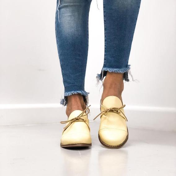 Mocasines Zapatos Liso Fondo De Suela Artesanal Cordones