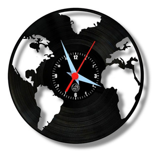 Mapa Mundi Relógio Parede Vinil Disco Lp Viagem Mundo Paises