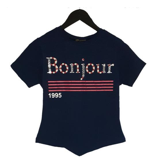 T-shirt Cropped Bonjour