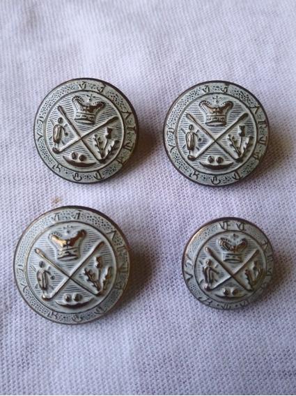 Un conjunto de Metal Plata Antigua Botones Blazer Escudo Militar