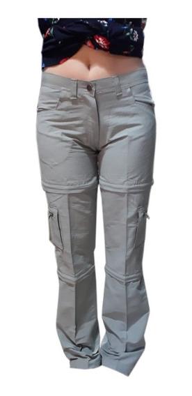 Pantalon Cargo Desmontable Mujer Bermuda Short Trekking Dama