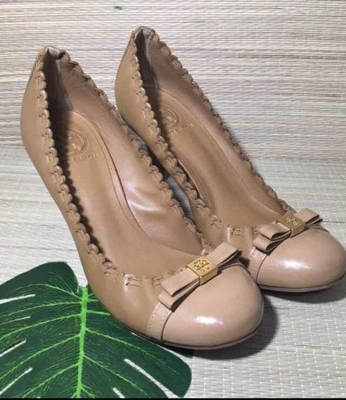 Sapato Alto Scarpin Tory Burch Original Semi Novo Caramelo