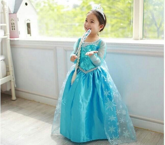 Vestido Disfraz Elsa Frozen + Accesorios Envios