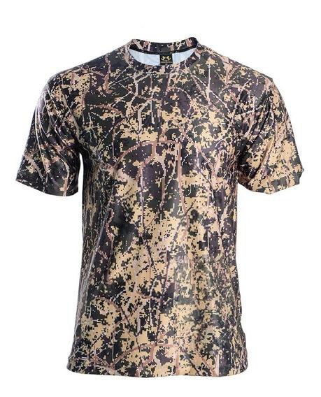 Camisa Camiseta Camuflada Manga Curta Dry Fit Uv 50+ Rf.109