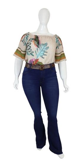 Calça Flare Jeans Plus Size Feminina Azul Com Lavagem Cambos