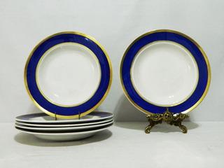 Juego 5 Platos Hondos Porcelana Royal Hartford Guarda Cobalt