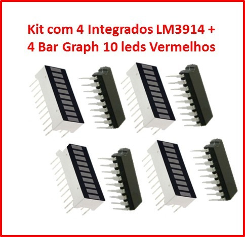 Kit Com 4 Integrados Lm3914 + 4 Bar Graph Cor Vermelha