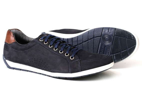 Sapatênis Masculino Casual Style Em Couro Azul Swhm Shoes