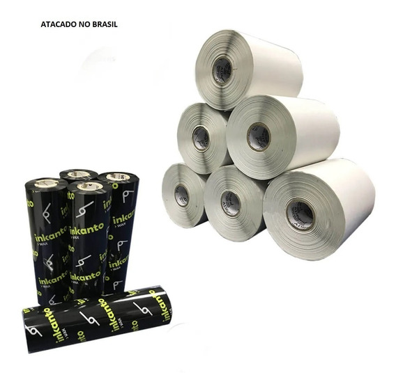 Kit 5 Rolos Etiqueta 10x15 Cm + 2 Ribbons Cera