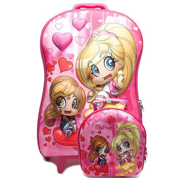Mochila Escolar 3d Com Lancheira Maxtoy My Pink - Original