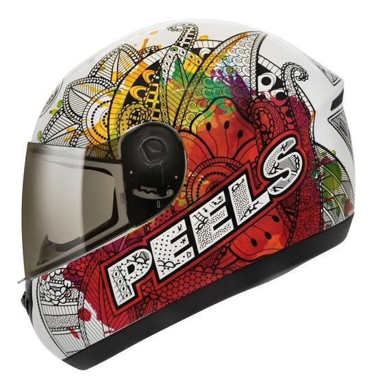 Capacete Peels Spike Indie Branco E Colorido Moto Com Nf