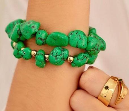 Pulseira Dupla Pedras Rústica Verde