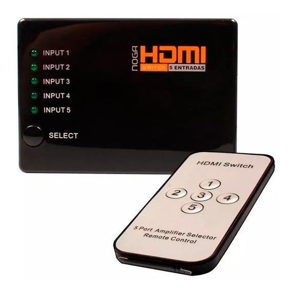 Switch Hdmi 5 Entradas Selector Divisor Noga +control Remoto