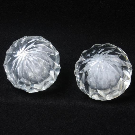 Dois Antigos Arremates De Maçanetas Em Cristal