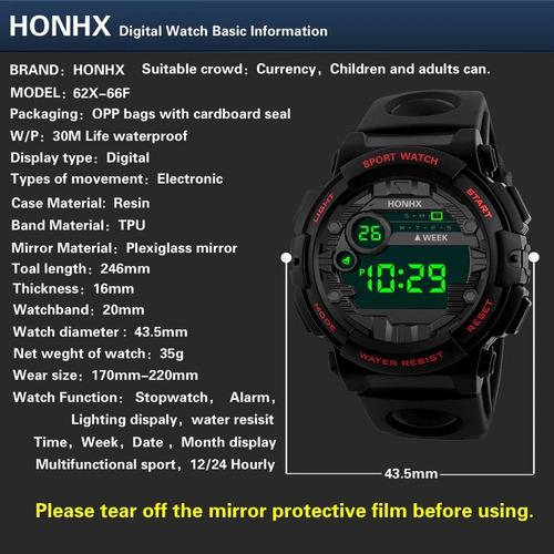 Honhx Luxo Masculino Digital Led Assista Data Esporte Mascul