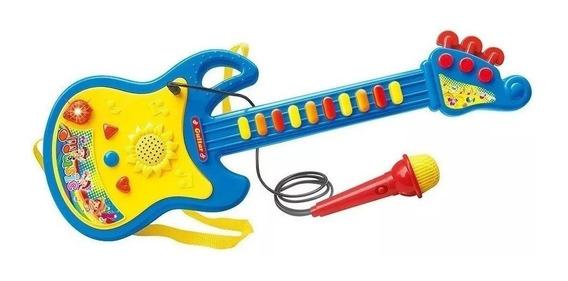 Guitarra Com Microfone Som E Luz Musical Infantil Educativo